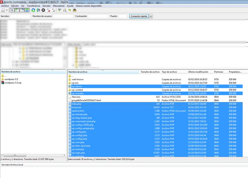 Usar FTP para subir archivos