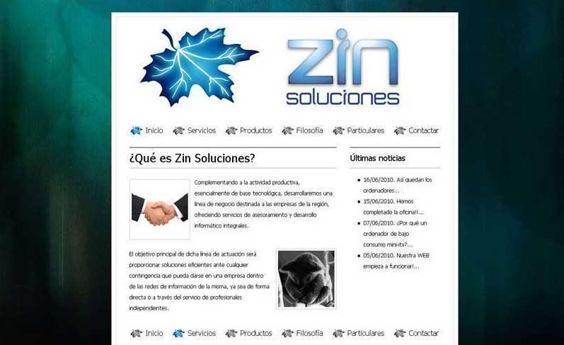 Diseño web Santander Zin soluciones 2008