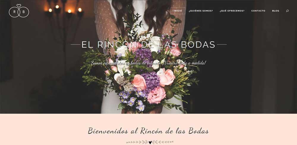 Diseño web El rincón de las bodas
