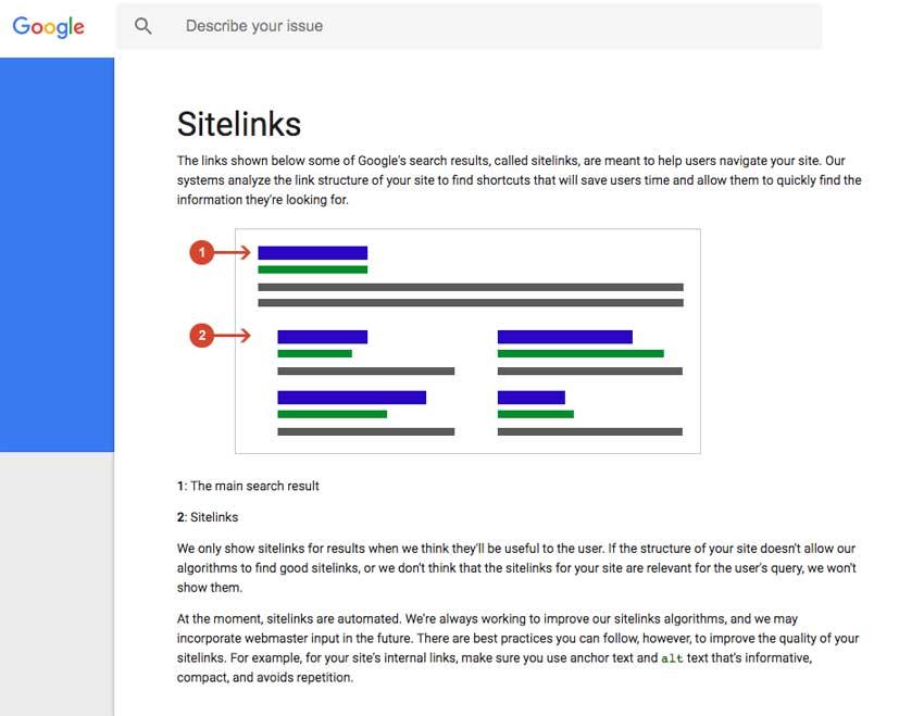 Sitelinks de Google