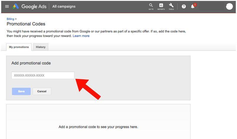 Activar cupones Google Ad Words